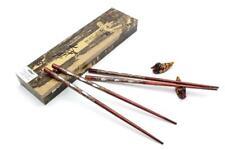 2 Paar Ess Stäbchen Sushi Chop Sticks mit Box Holz braun 23,5cm