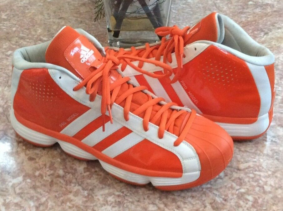 Adidas Pro Model Mens '10 High Top Orange White Basketball Shoes Comfortable The latest discount shoes for men and women