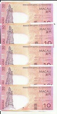 5RW 03OCT UNC CONDITION MACAO MACAU  10 PATACA 2013  P 80