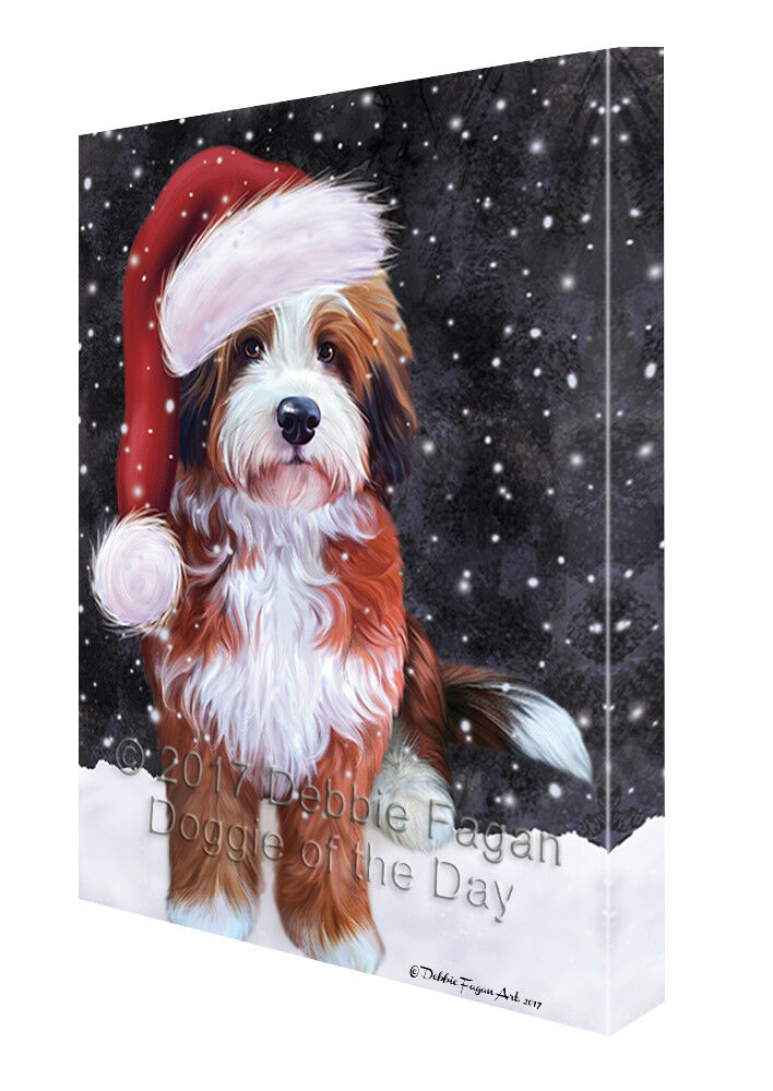 Let it Snow Christmas Holiday Bernedoodle Dog Canvas Wall Art T07