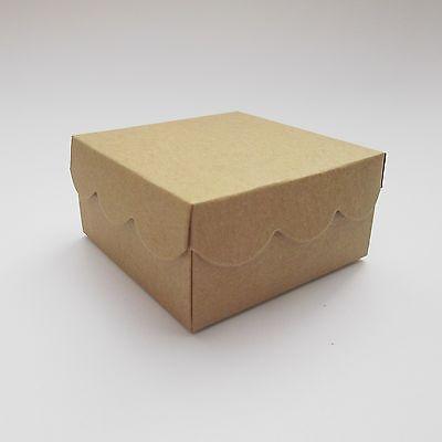 Brown Kraft Scallop Lid Wedding Favour Boxes -  Choose QTY -  Bridal Shower