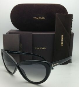 cda69a1cbadc2 TOM FORD Sunglasses MADISON TF 253 01B 63-10 Black Cat-Eye Frame w ...
