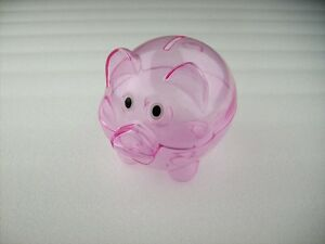 71aaa5891 Image is loading MINI-Transparent-Plastic-Coin-Pig-Piggy-Money-Bank-