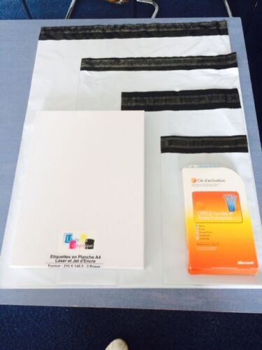 Lot de 250 enveloppes plastiques blanches opaques format standard A5 A4 A3 A3++