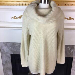 DENIM-amp-SUPPLY-Ralph-Lauren-Womens-M-Beige-Long-Sleeve-Cowl-Neck-Knit-Sweater