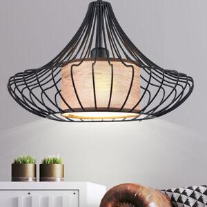 Détails sur Vintage Couvrir Lampe Suspendue la Vie Chambre Style Rétro Cage  Tissu