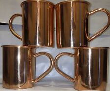 Straight Moscow Mule Solid Copper Mug / Cup  UNLINED 16 Ounce  Set of 4