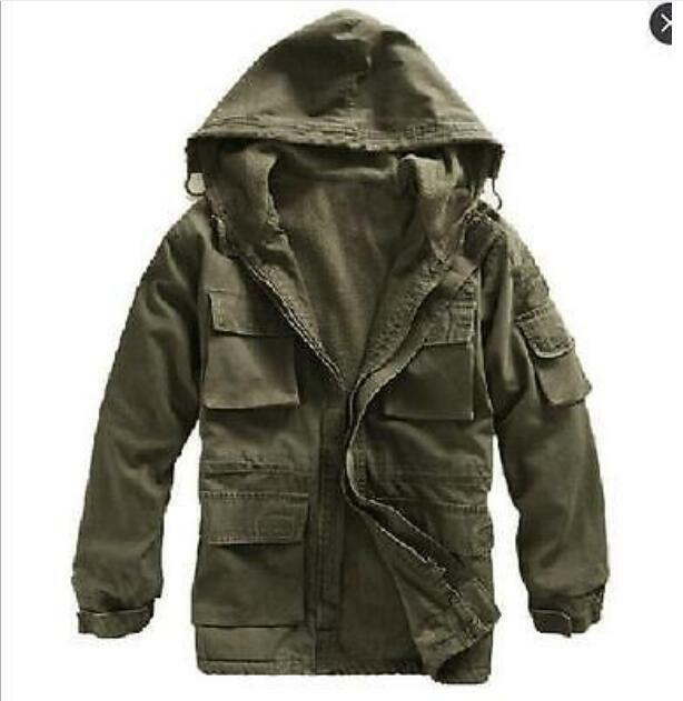 New Mens Jacket Military Canvas Cotton Fleece Hooded Warm Outerwear Dust Coat