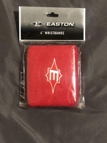 """NOUVEAU!! Easton Baseball 4/"""" en Coton Rouge Bracelet Bandes brodé E logo paire"""