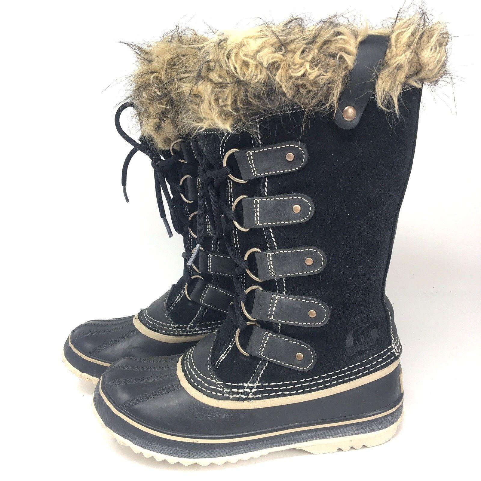 spedizione veloce a te Donna Donna Donna  Sorel Joan of Arctic Faux Fur Snow Winter stivali nero Leather Sz 7 M  sconti e altro