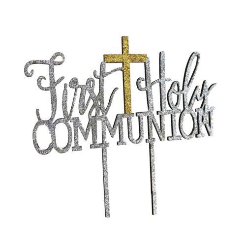 First Holy Communion Baptism Christening Cake Topper Decoration Sparkle MDF Cros