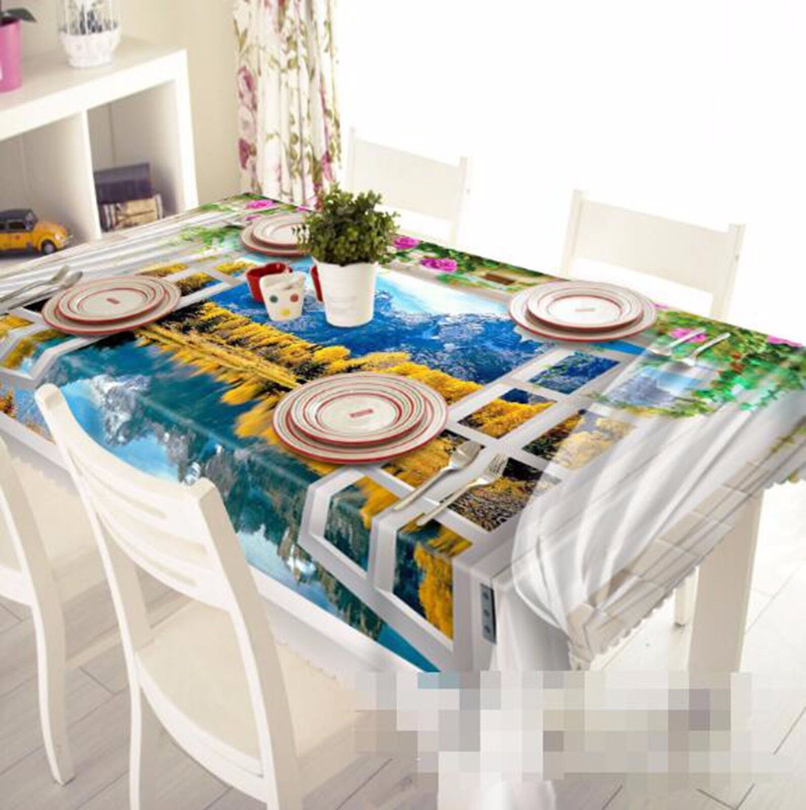 3D à battant 5 Nappe Table Cover Cloth fête d'anniversaire AJ papier peint Royaume-Uni Citron