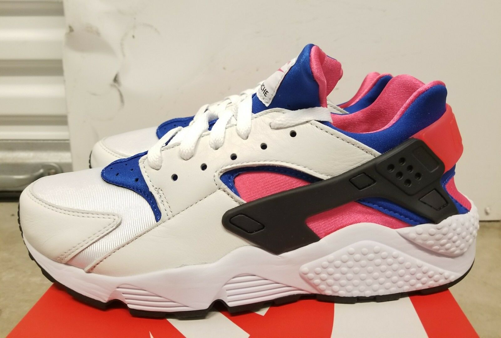 Nike air huarache run '91 og qs white white qs royal ah8049-100 dimensioni 9.5 ds con ricevuta 669169