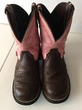 Justin Gypsy Ladies Pink and Brown Boots Size 7B EUC