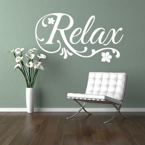 RELAX swirls flower wall sticker art decal beauty hair nail salon spa bathroom