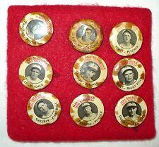 "(9) 1933 BASEBALL TEAM PINS "" MRS. SHERLOCK'S HOME MADE BREAD "" TOLEDO MUD HENS"