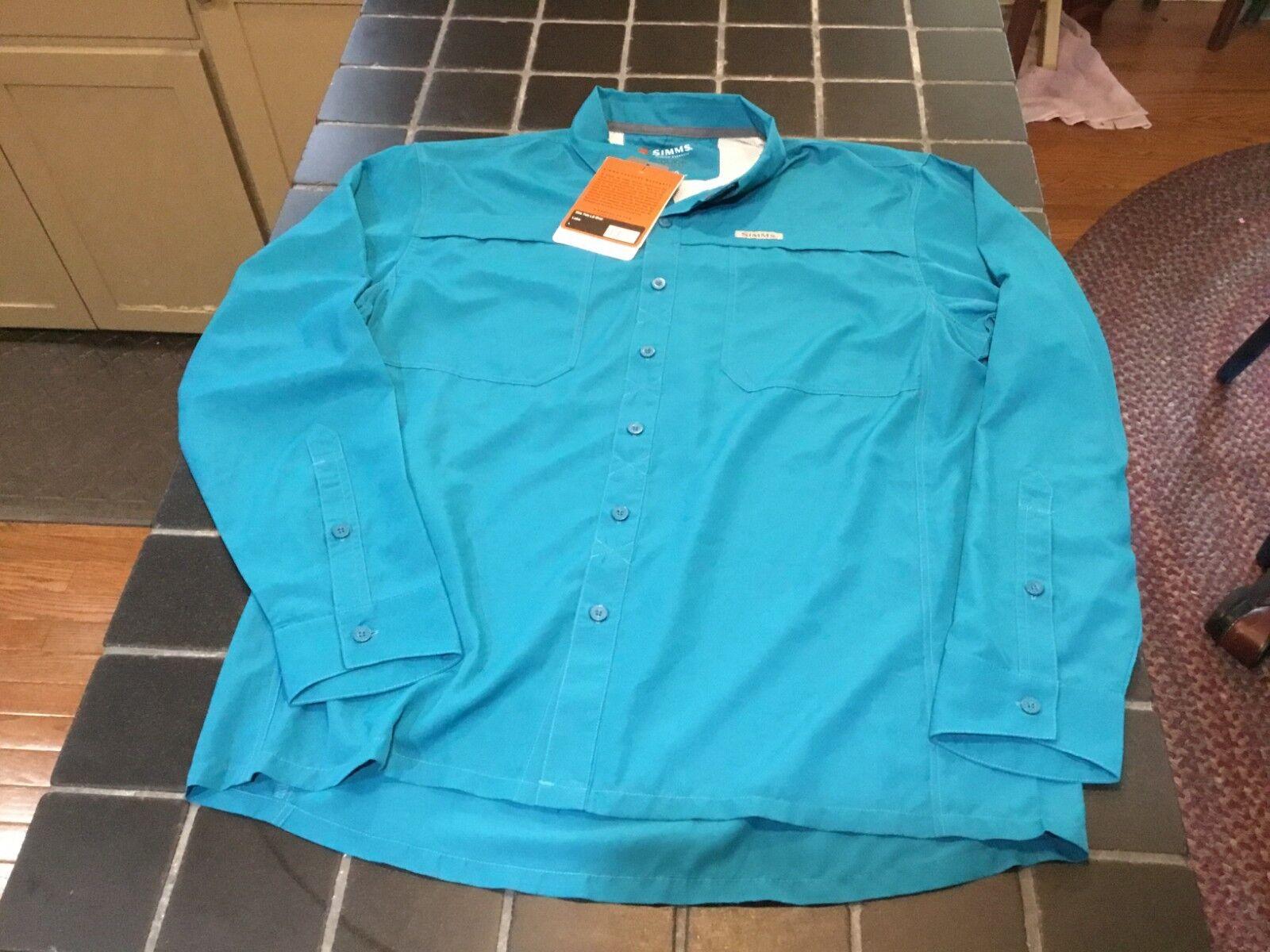 NWT Simms Fishing Ebb Tide LS Shirt, Size L, Lake color Fly Fishing Shirt