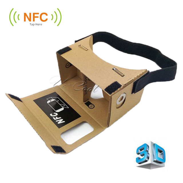 VR 3D Virtual Reality Cardboard Headset Full With NFC For Google Android IPhone