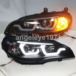 Details About 2007 2011 Year For Bmw X5 E70 Led Angel Eyes Front Lamps Light Black Housing Jy