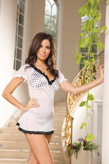 Elegant Moments Mesh Polka Dot Babydoll