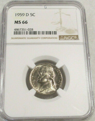 1959-D 5C Jefferson Nickel NGC Gem Unicrculated MS66