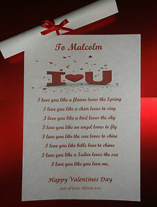 Valentines Day I Love You Poem Gift For Her Him Boyfriend Girlfriend