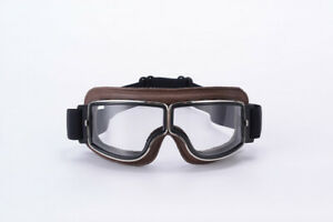 Retro-motorcycle-helmet-goggles-motorcycle-goggles-brown-frame-transparent-len