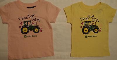 JOHN DEERE Baby Girls 0-3 3-6 or 6-9 Month Pink Yellow Bodysuit Choice NWT