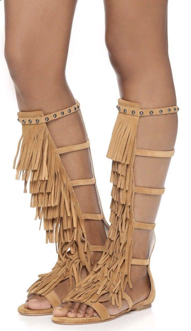 Nuevo  Alice + Olivia Paula Flecos de Gamuza Con Tachas Gladiador Sandalias Zapatos EE. UU. 7