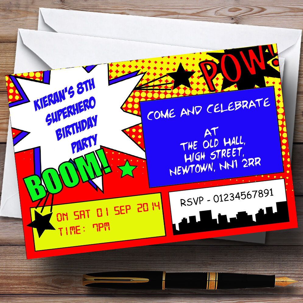 Vintage Comic Superhero Theme Personalised Birthday Party Invitations