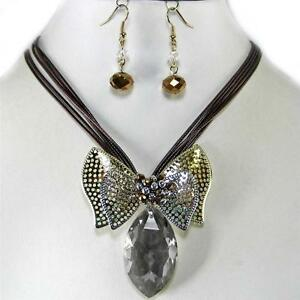 Black-Diamond-Glass-Crystal-Bow-Gold-Silver-Necklace-Earrings-Jewelry-Set