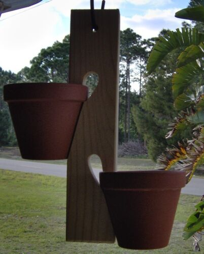 """Wooden Clay Pot Holder with /""""S/"""" Hook 12 inches long by The Old Coot"""