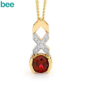 Classic-Natual-Kiss-Hug-Diamond-ruby-9k-9ct-Solid-Yellow-Gold-Drop-Pendants