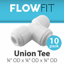 """Union Tee 1/4"""" Fitting Connection Parts for Water Filters / RO Systems - 10 Pack"""