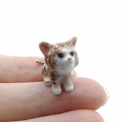 CCK036 Brown Cat Kitten Ceramic Animal Figurine Tiny Miniature Statue