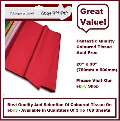 YELLOW LUXURY QUALITY COLOURED TISSUE PAPER ACID FREE 750mm x 500mm