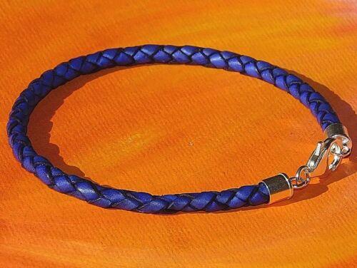 Ladies 4mm Purple leather /& sterling Silver bracelet by Lyme Bay Art Mens