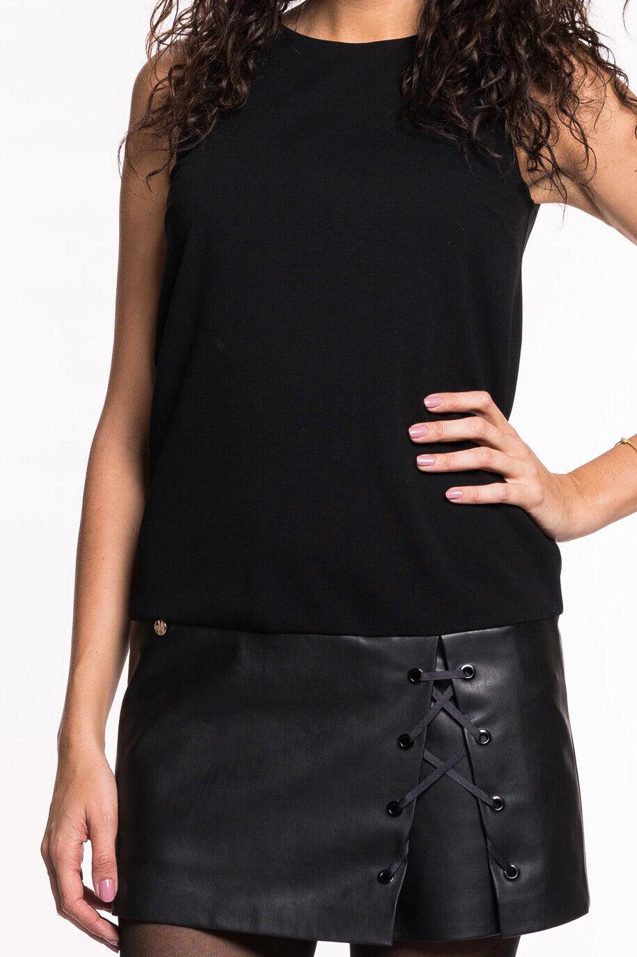 Liu Jo - Kleid Damen kurzes Lederkleid Etuikleid schwarz Designer Neu