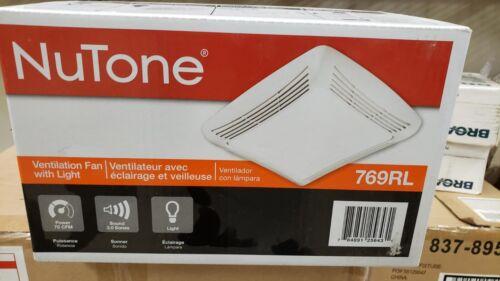 NuTone 769RL Ventilation Fan with Light Grille /& Lens 70CFM White