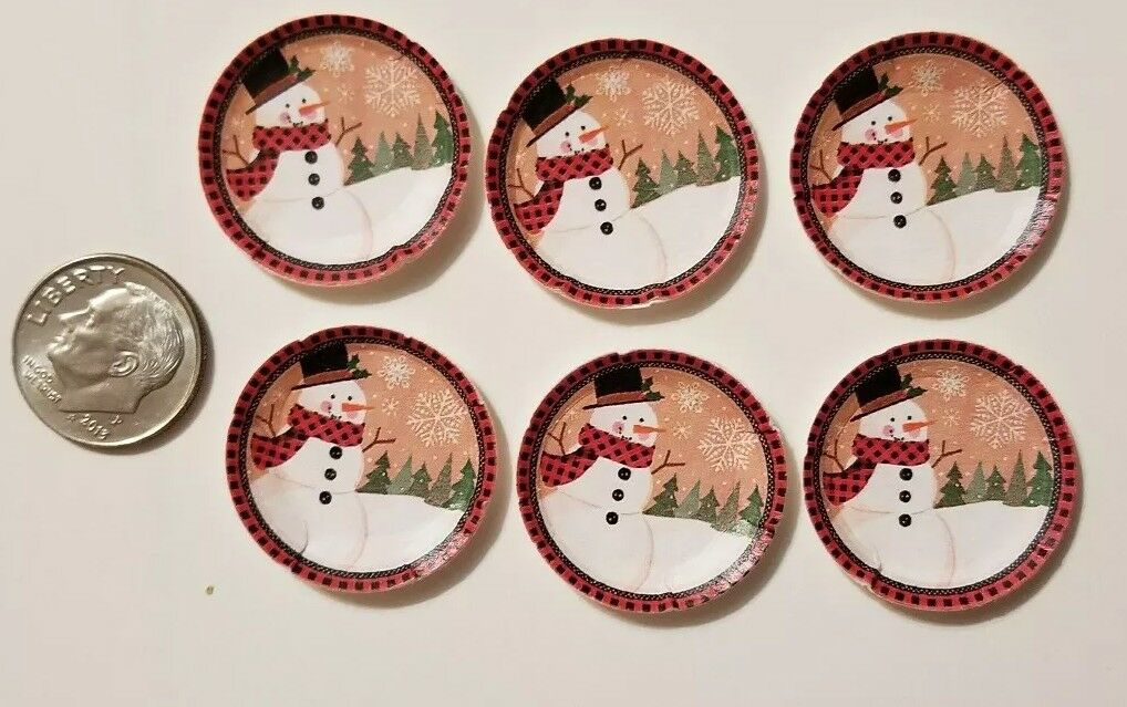 "6 Miniature dollhouse Christmas Paper plates  Barbie 1//12/"" Frozen Elsa Anna Dis"