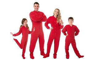 Big Feet Pjs - Red Fleece Footed Pajamas - Adult, Kids & Infant Onesie