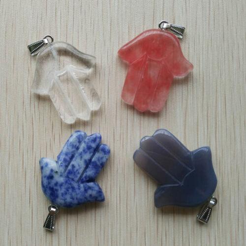 Fashion assortis pierre naturelle main Palm Charms Pendentifs 10pcs//lot Wholesale
