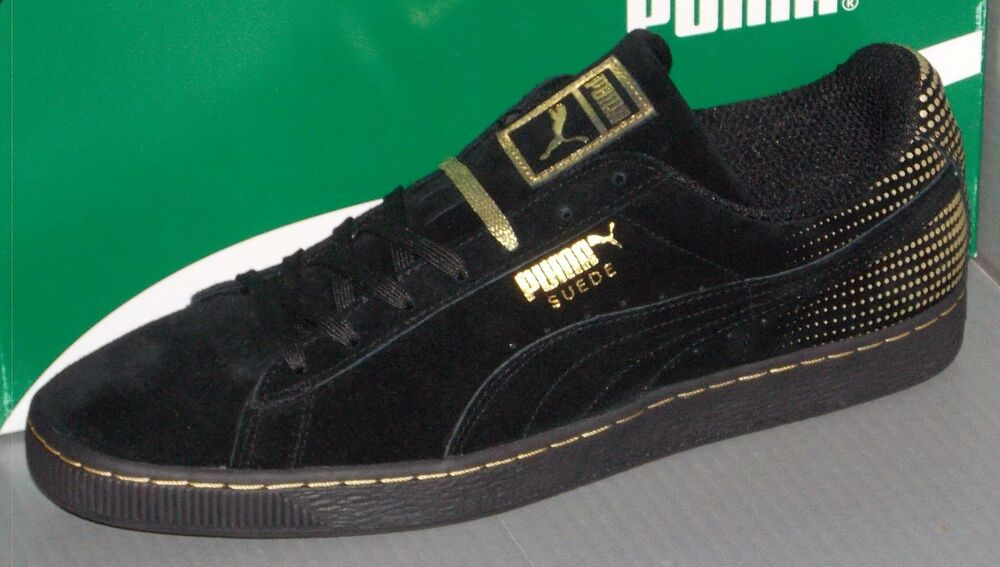 MENS PUMA SUEDE METALLIC FADE in colors noir / METALLIC GOLD Taille 11.5