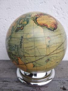 Globe-terrestre-mappemonde-Vaugondy-diam-14cm-neuf-objet-de-qualite-socle-alu