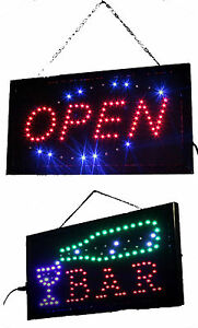 led schild leuchtreklame werbung stopper leuchtschild sign neon display bar open ebay. Black Bedroom Furniture Sets. Home Design Ideas
