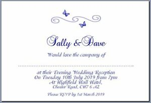 10 Evening Wedding Invites  Flat Style A6 Navy Blue Butterfly Scroll Design - Mold, United Kingdom - 10 Evening Wedding Invites  Flat Style A6 Navy Blue Butterfly Scroll Design - Mold, United Kingdom