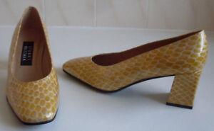 WEITZMAN-Yellow-Glossy-Pumps-Heels-Court-Shoes-Size-UK-4-EU-37-US-6-5