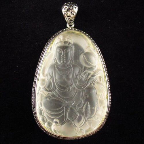 1Pcs 50g Silver Wrapped Matte White Crystal Kwan-yin Pendant Bead BK694