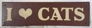 """I """"Heart"""" Cats Plaque"""