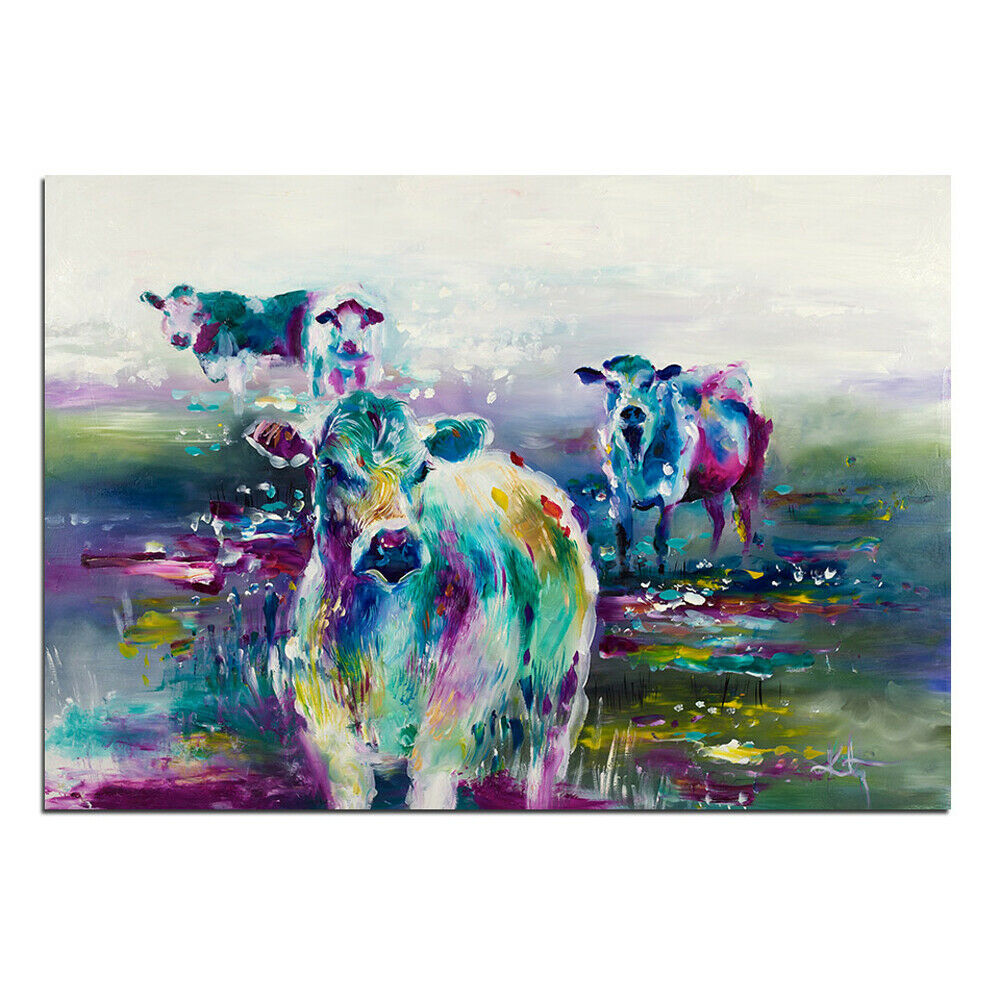 Art HD Print Home Décor Farbeful Cows Paintings Wall Poster Picture
